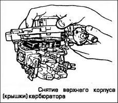 Снятие верхнего корпуса (крышки) карбюратора